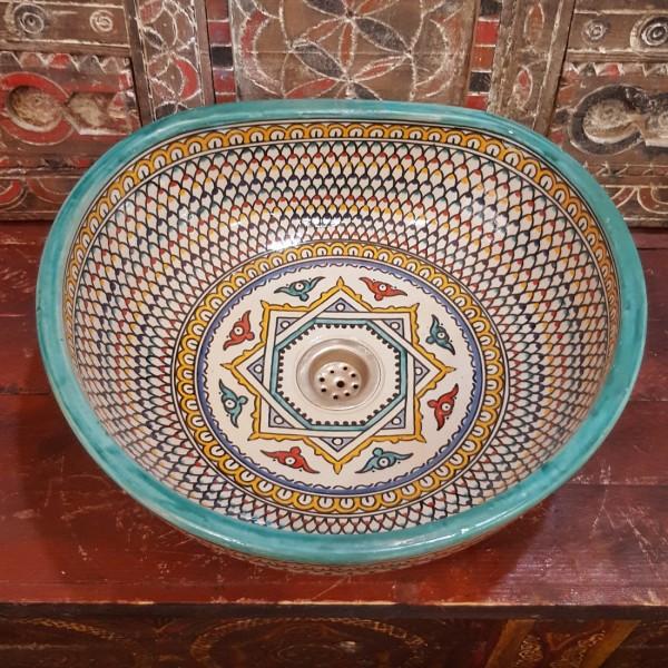 Lavandino in Ceramica Dipinta a Mano Marocco   LT40-5