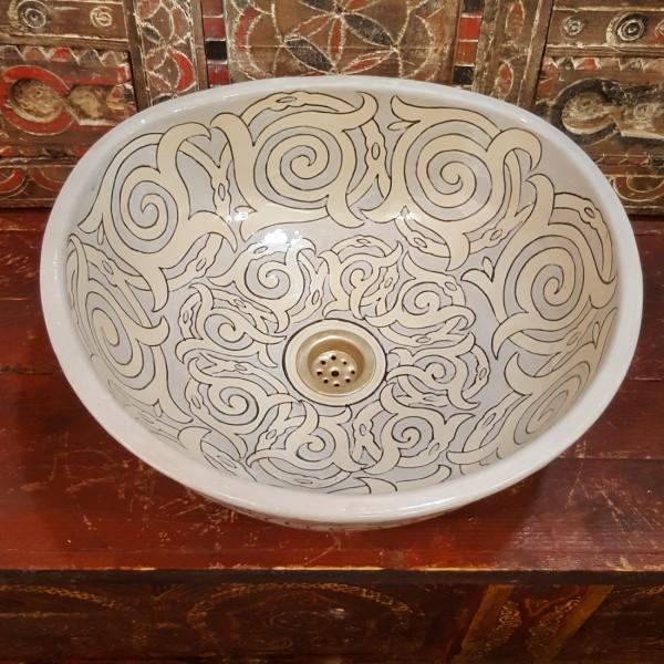 Lavandino in Ceramica Dipinta a Mano Marocco   LT40-6