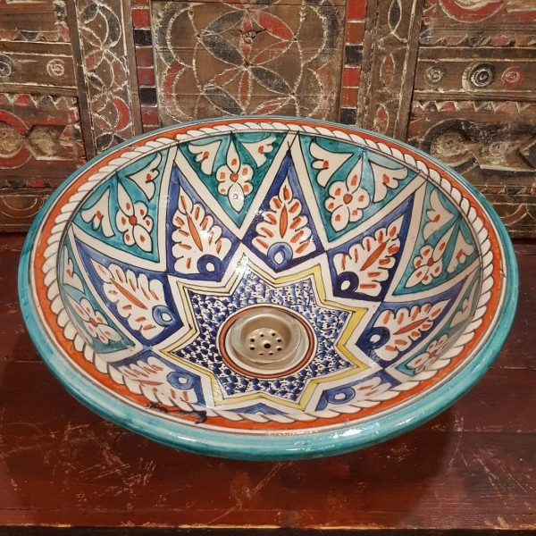 Lavandino in Ceramica Dipinta a Mano Marocco | LR40-14