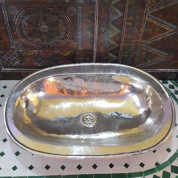 Lavandino in Metallo Bianco Marocco | LMB-1